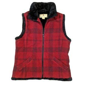 Woolrich M Buffalo Plaid Faux Fur Lined Wool Vest